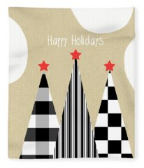 Happy Holidays With Black And White Trees Fleece Blanket