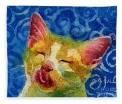 Happy Sunbathing Fleece Blanket