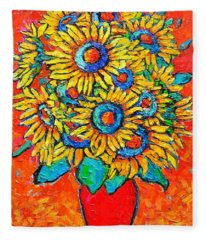 Happy Sunflowers Fleece Blanket
