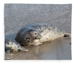 Harbor Seals In The Surf Fleece Blanket
