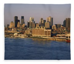Harbor With The City Skyline, Montreal Fleece Blanket