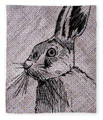 Hare On Burlap Fleece Blanket
