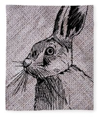 Hare On Burlap Fleece Blanket