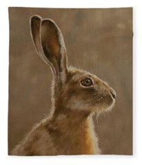 Hare Portrait I Fleece Blanket