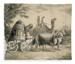 Harem Carriage Of The King Of Delhi Fleece Blanket