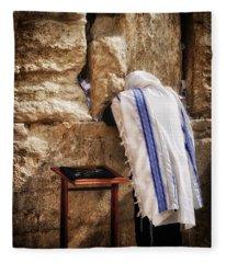 Harken Unto My Prayer O Lord Western Wall Jerusalem Fleece Blanket