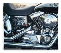 Harley Black And Silver Sideview Fleece Blanket