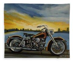 Harley Davidson Duo Glide Fleece Blanket