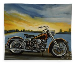 Harley Davidson Duo Glide Fleece Blanket