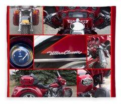Harley Davidson Ultra Classic Trike Fleece Blanket