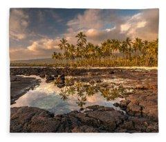 Hawaii Place Of Refuge Tidepools Sunset Fleece Blanket