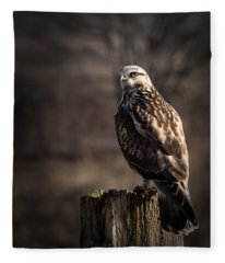 Hawk On A Post Fleece Blanket