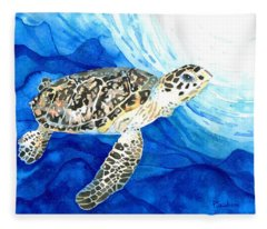 Hawksbill Sea Turtle 2 Fleece Blanket