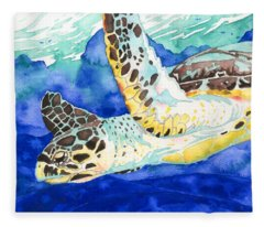 Hawksbill Sea Turtle Fleece Blanket