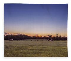 Fleece Blanket featuring the photograph Hay Bales In A Field At Sunset by Todd Aaron