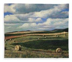 Hayrolls On Swirl Field In Latrobe By Christopher Shellhammer Fleece Blanket