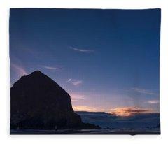 Haystack Rock Dusk Fleece Blanket