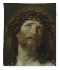 Head Of Christ Crowned With Thorns Fleece Blanket
