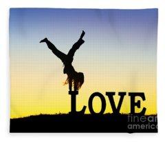 Head Over Heels In Love Fleece Blanket