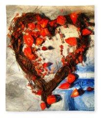 Heart And Flowers Fleece Blanket
