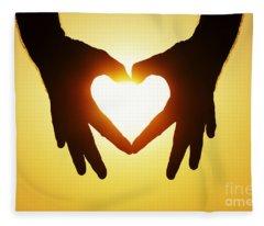 Heart Hands Fleece Blanket
