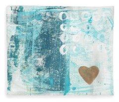 Heart In The Sand- Abstract Art Fleece Blanket