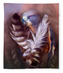 Heart Of A Hawk Fleece Blanket
