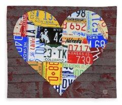 Heart Of America Usa Heartland Map License Plate Art On Red Barn Wood Fleece Blanket
