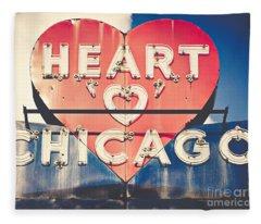 Heart Of Chicago Fleece Blanket
