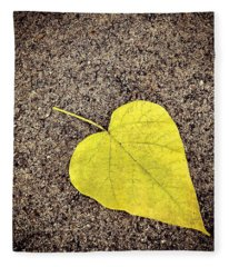 Heart Shaped Leaf On Pavement Fleece Blanket