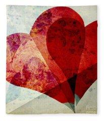 Hearts 5 Square Fleece Blanket