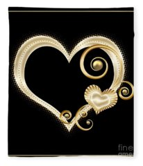 Hearts In Gold And Ivory On Black Fleece Blanket