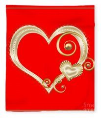 Hearts In Gold And Ivory On Red Fleece Blanket