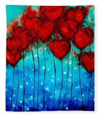Hearts On Fire - Romantic Art By Sharon Cummings Fleece Blanket