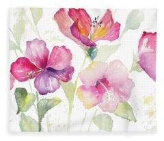 Heavenly Hibiscus Fleece Blanket