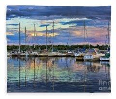 Hecla Island Boats Fleece Blanket