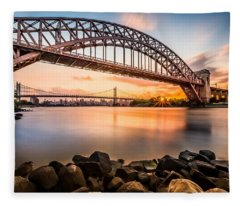 Hell Gate And Triboro Bridge At Sunset Fleece Blanket