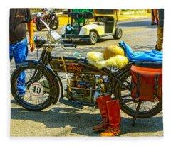 Henderson At Cannonball Motorcycle Fleece Blanket