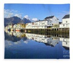 Henningsvaer Harbour Fleece Blanket