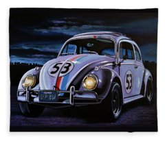 Herbie The Love Bug Painting Fleece Blanket