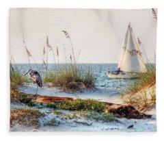 Heron And Sailboat Fleece Blanket