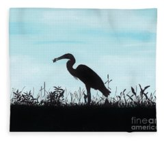 Heron Has Supper Fleece Blanket
