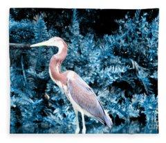 Heron In Blue Fleece Blanket
