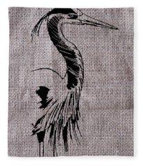 Heron On Burlap Fleece Blanket