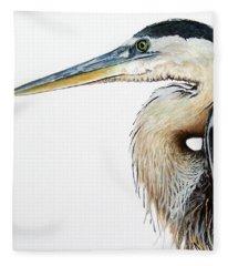 Heron Study Square Format Fleece Blanket