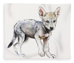 Hesitating Arabian Wolf Pup Fleece Blanket