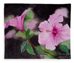 Hibiscus - So Pretty In Pink Fleece Blanket