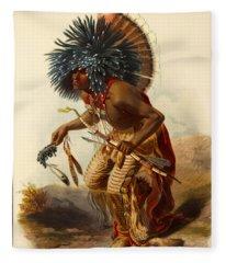 Hidatsa Warrior Fleece Blanket