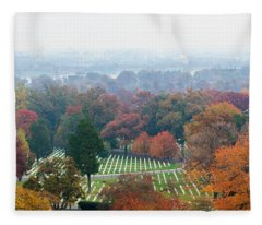 High Angle View Of A Cemetery Fleece Blanket