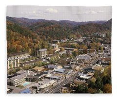 High Angle View Of A City, Gatlinburg Fleece Blanket